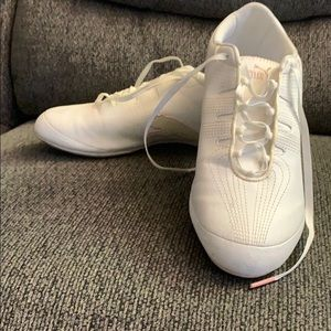 White and pink puma shoes